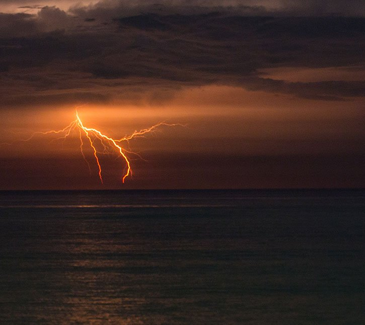 Lightening storm over ocean emergency preparedness
